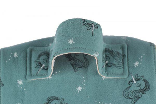 Sac à dos pour enfant licornes, vert, et sa anse.